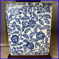 New Ralph Lauren Blue/White Floral Asian Porcelain Table Lamps Set of 2