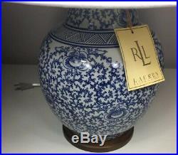 New Ralph Lauren Porcelain Ginger Jar Lamp BLUE WHITE