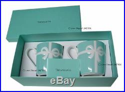 New TIFFANY & CO Bone China Blue Bow Ribbon 2 Mug Cup Set Gift Box from JAPAN
