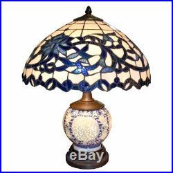 New Tiffany Blue White Porcelain Table Desk Lamp 22Dia Lighting Free Shipping