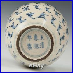 Nice Chinese Blue & White soft paste porcelain tea caddy, 19th ct. Marked Kangxi