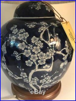 Nwt Ralph Lauren Lamp Cobalt Blue & White Cherry Blossoms Porcelain Ginger Jar