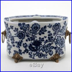 ORIENTAL CHINESE BLUE AND WHITE PORCELAIN FLORAL OVAL PLANTER With BRONZE ORMOLU