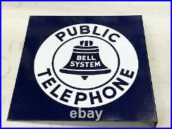 ORIGINAL PUBLIC TELEPHONE Phone FLANGE Sign BELL SYSTEM Porcelain Vintage LARGE