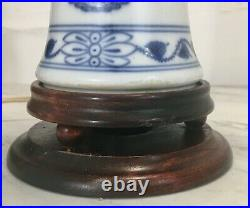 Old Meissen Porcelain Blue Onion Vase To Table Lamp Germany Blue White