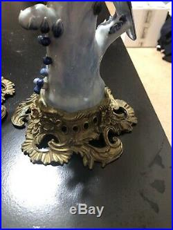 Oriental Bronze Ormolu Blue White Parrot Birds Porcelain Candle Holders Pair