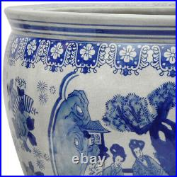 Oriental Furniture 14 Ladies Blue & White Porcelain Fishbowl