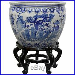 Oriental Furniture 16 Ladies Blue & White Porcelain Fishbowl