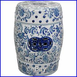 Oriental Furniture 18 Floral Blue & White Porcelain Garden Stool