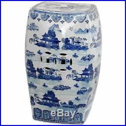 Oriental Furniture 18 Square Landscape Blue & White Porcelain Garden Stool