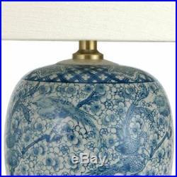 Oriental Furniture 20 Classic Blue & White Porcelain Jar Lamp