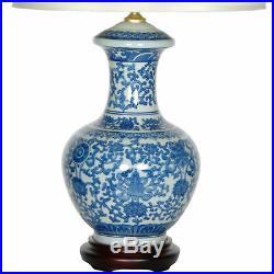 Oriental Furniture 24.5 Blue & White Porcelain Round Vase Lamp