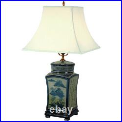 Oriental Furniture 25 Blue & White Chinese Calligraphy Porcelain Lamp