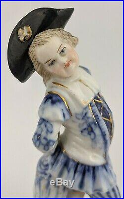 PAIR Antique German 19th C Blue White Sitzendorf Boy & Girl PORCELAIN Figurine