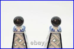 PAIR Vintage Porcelain Cobalt Blue and White Chinese Candle Holder BOMBAY China