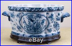 PORCELAIN BLUE AND WHITE BIRD MOTIF PLANTER FOOTBATH with wood stand