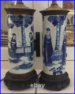 Pair 19th c. Antique Chinese Blue & White Porcelain Vases as Lamps Export