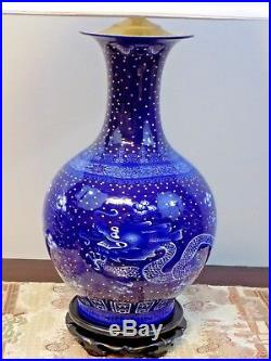 Pair 32 Chinese Porcelain Vase Lamps Dragon Blue & White 24k Embellishment