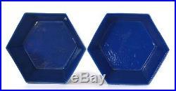 Pair Late 19C Chinese Gilt Blue & White Enamel Cobalt Blue Porcelain Bowl Dragon