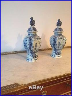 Pair Of 18th C. White And Blue Signed Delft Ribbed Jars