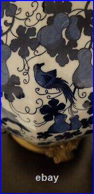 Pair Of Blue And White Porcelain Lamps with Birds H 34