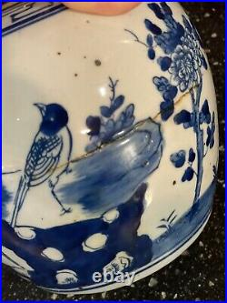 Pair Of Blue and White Bird and Floral Porcelain Ginger Jars Chinoiserie
