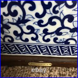 Pair Of Ralph Lauren Rare Mandarin Blue Floral White Porcelain Table Lamps Shade
