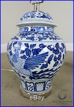 Pair Porcelain Blue & White Ginger Jar Chinoiserie Table Lamps