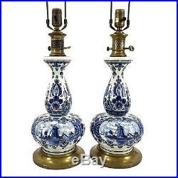 Pair Vintage Paul Hanson Delft Porcelain Blue & White Pottery Table Lamps Asian