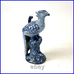 Pair of 20th Century Chinoiserie Blue And White Long Tailed Porcelain Birds