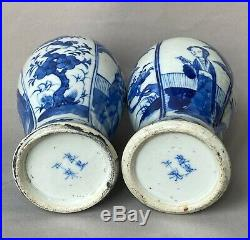 Pair of Chinese 19th C Kangxi Mark Blue& White Porcelain Vases with lids