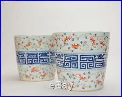 Pair of Chinese Blue and White Ribbon Famile Rose Bat Cloud Porcelain Flower Pot