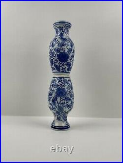 Pair of Chinese Chinoiserie Blue & White Porcelain Vases 6 Vintage Preowned