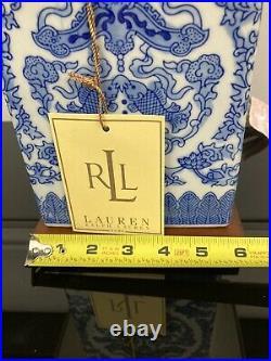 Pair of RALPH LAUREN Lamps Blue White Asian Koi Fish Mandarin Porcelain Finish