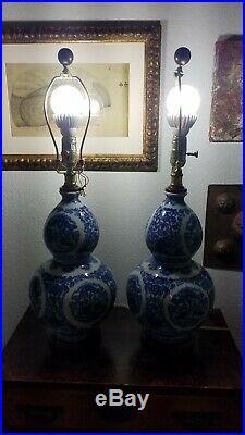 Pair of Ralph Lauren Blue & White Gourd Shaped Porcelain Lamps Chinoiserie