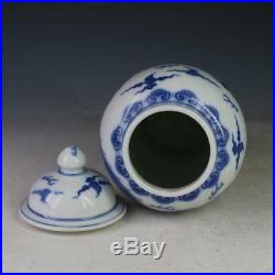 Pair of Rare Chinese Qing Blue&White Porcelain Dragon Hat-Covered Jar