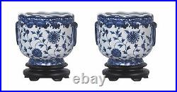 Pair of Round Scallop Rim Blue and White Floral Porcelain Pot Wooden Base 7
