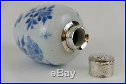 Perfect Chinese Porcelain Blue & White Kangxi 18th C Silver Mounted Teacaddy