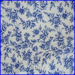 Porcelain Blue Cream White TOILE FLORAL Reversible 3pc FULL QUEEN QUILT SET