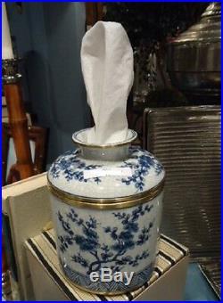 Porcelain Blue & White Blossom Jar Facial Tissue Holder Cover Kleenex Box Keeper