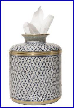 Porcelain Blue White Diamond Pattern Tissue Holder Jar Cover Kleenex Keeper Box