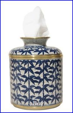 Porcelain Blue & White Leaf Tissue Holder Jar Cover Kleenex Box Keeper Bamboo