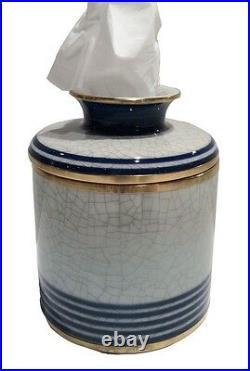 Porcelain Blue White Stripe Jar Facial Tissue Holder Cover Kleenex Box Keeper