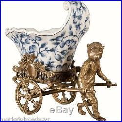 Porcelain Blue White Whimsical Monkey Bronze Planter Pulling Rickshaw Cart 10H