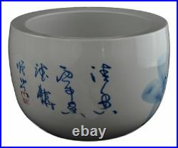 Porcelain Blue and White Fishbowl, Hand-painted Lotus Fish Bowl with Free Stand