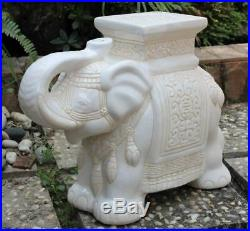 Porcelain Garden Stool Ceramic Elephant Plant Stand Patio Accent Side End Table
