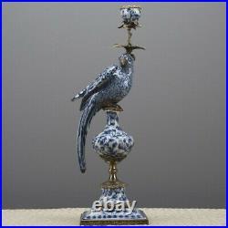 Porcelain In Bronze Ormolu Blue And White Fleur Figural Bird Candlestick Left