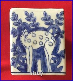 Porcelain Vase Flower Frog Brick in the Delft Chinese Blue & White Manner Deer
