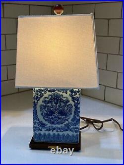 RALPH LAUREN Lamp Blue & White Mandarin Koi Fish Porcelain Finish Cream Shade