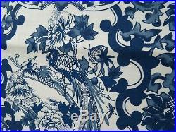 RALPH LAUREN Porcelain TAMARIND Bird QUEEN DUVET 3 Pc SET Blue White CHINOISERIE